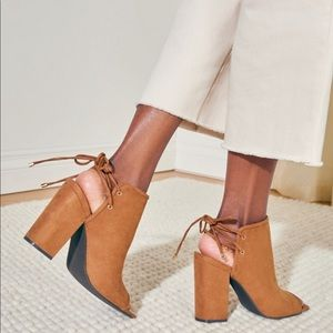 🆕 JustFab: Dionne Peep Toe Heeled Bootie (Camel)